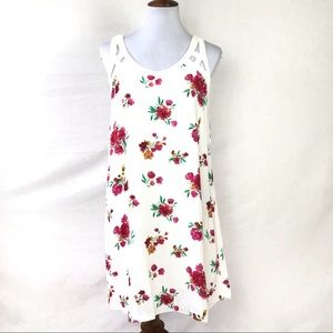 skies are blue sleeveless floral tent dress large